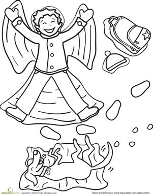 preschool coloring pages angels snow angel worksheet education com