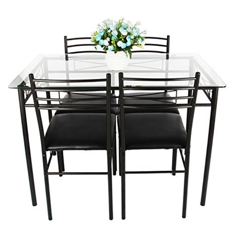 dining table set vecelo 5pc glass table and 4 chair sets