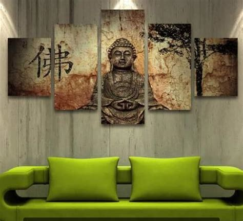 zen home decor store 5 panel zen buddha modern home wall decor painting canvas