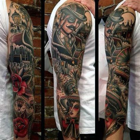 tattoo sleeve inspiration 60 traditional tattoo sleeve designs for men old school