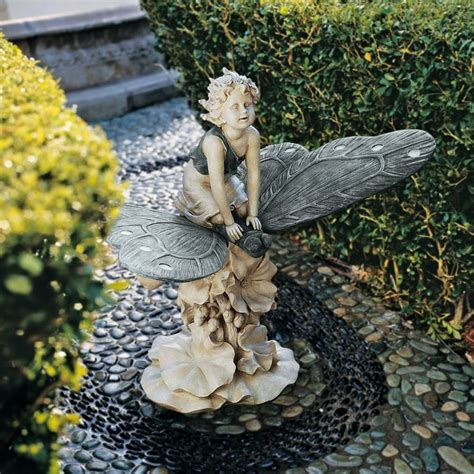 fairy garden statues shop design toscano fairy s wonderous butterfly ride 18 5