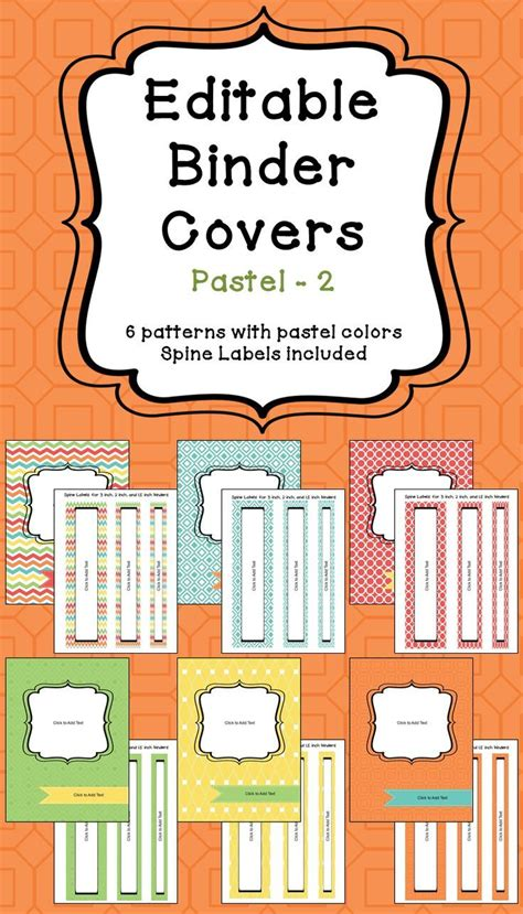 editable printable binder covers editable binder covers spines in pastel colors part 2