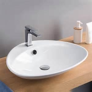 vasque 224 poser ovale 59x50 cm bs c 233 ramique blanche artceram