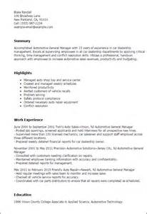 Resume Sles General Manager Professional Automotive General Manager Templates To Showcase Your Talent Myperfectresume