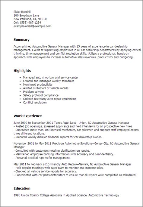 Sample Resume Objectives For Any Job by Professional Automotive General Manager Templates To