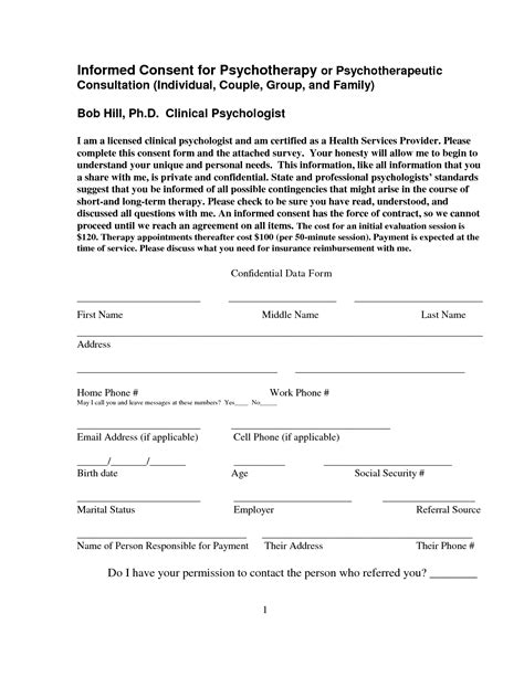 Informed Consent Form Template best photos of psychotherapy informed consent template
