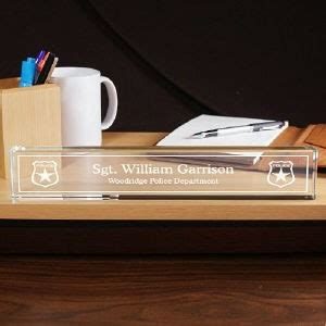 personalized officer desk name plate enraved glass