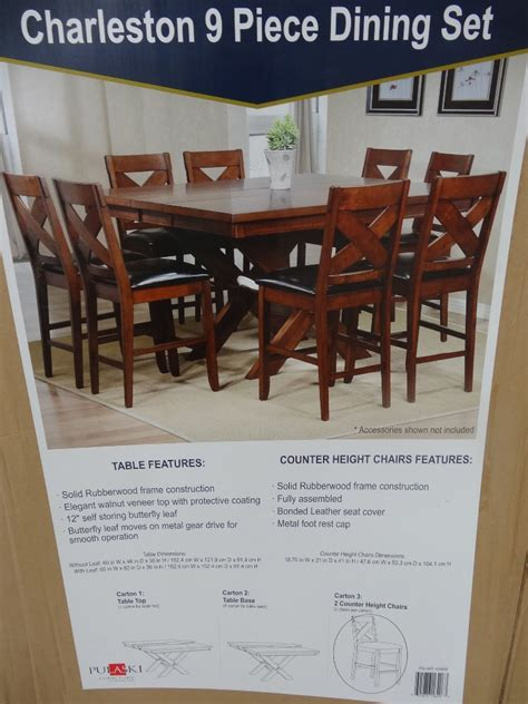 Square Dining Room Table With Leaf by Charleston 9 Piece Counter Height Dining Set