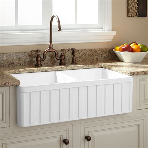 Farm Sinks Kitchen by 33 Quot Oldham Bowl Fireclay Farmhouse Sink Fluted