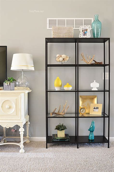 family room decor with ikea vittsjo bookcases at tidymom