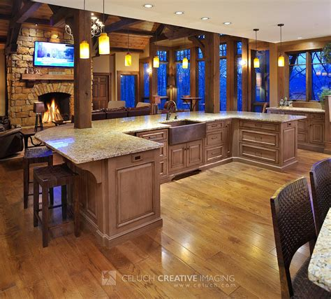 Mullet Cabinet Large Rustic Timber Frame Kitchen With Rustic Kitchen Islands With Seating
