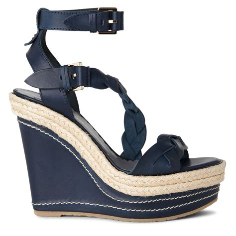 navy wedge sandal mulberry braided wedge sandal in blue navy lyst