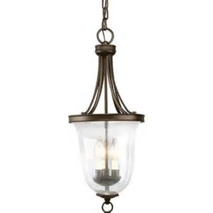 Pendant Light For Entryway Progress Lighting Seeded Glass Collection 3 Light Antique Bronze Foyer Pendant