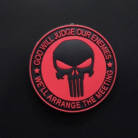 Patch Rubber Patch Punisher Merah Brevet 1pcs punisher patch velcro skull 3d rubber pvc patches airsoftsports tactical clothes