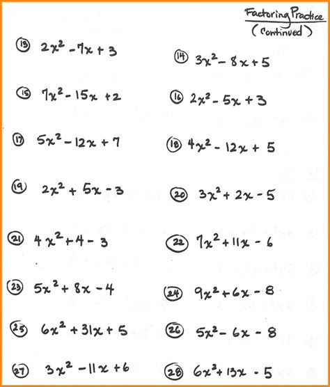 free printable math worksheets quadratic equations alge factoring worksheet math cover alge best free