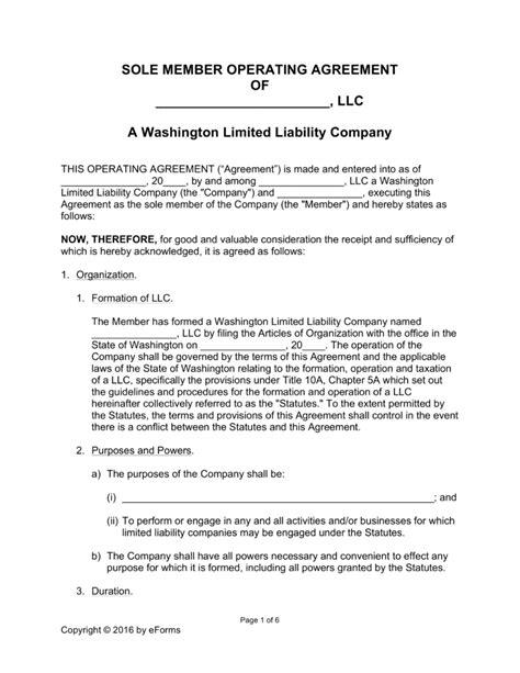Free Washington Single Member Llc Operating Agreement Form Word Pdf Eforms Free Fillable Washington State Llc Operating Agreement Template