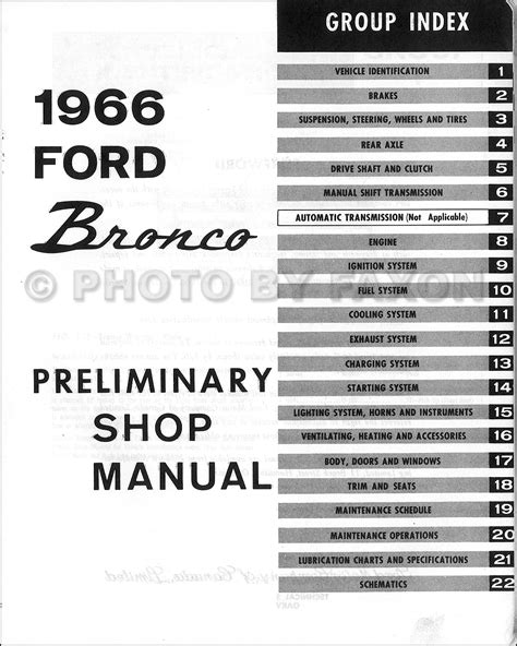 1966 ford small car service manual 1966 ford bronco repair manual