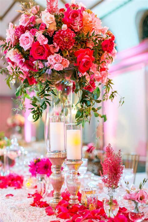 Reception D 233 Cor Photos Hot Pink Rose Dahlia Wedding Roses Centerpieces