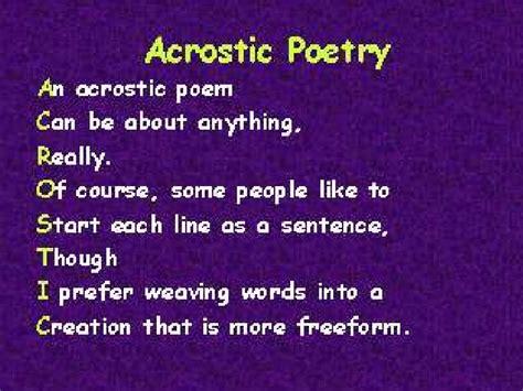 acrostic poem exles acrostic poems
