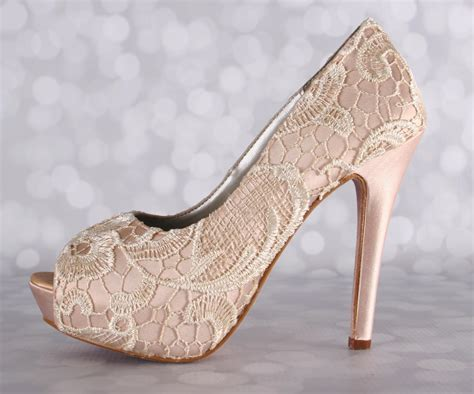 Wedding Shoes High Heels Ivory by Blush Wedding Shoes Ivory Lace High Heel Peeptoe