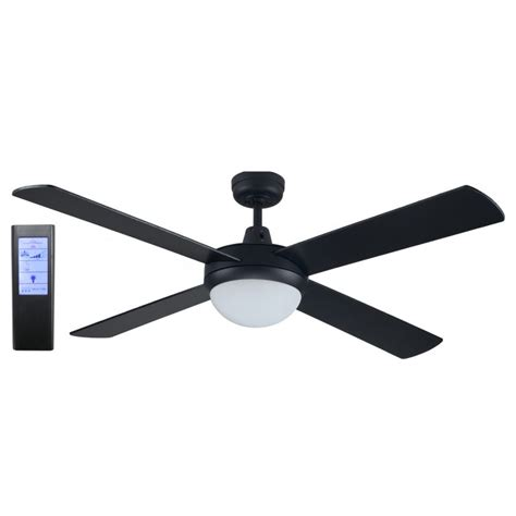 Black Ceiling Fans With Light And Remote Rotor 52 Inch Led Ceiling Fan Black With 24w Led Light Black Touch Pad Remote Led Lighting