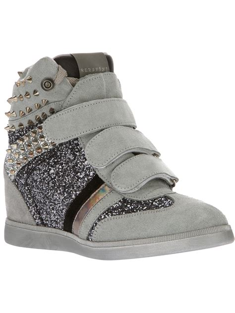 grey wedge sneakers serafini studded and glitter wedge inside sneakers in gray