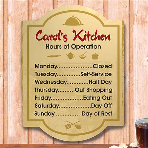 Kitchen Wall Signs personalized gifts hours of operation customized kitchen wall signs