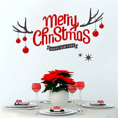 Aufkleber Frohe Weihnachten by Merry Antler Wall Sticker By Snuggledust Studios