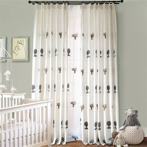 white curtains for nursery white tree cute embroidery curtains for nursery