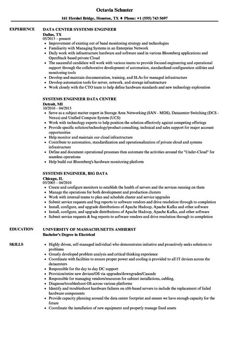 resume format for system engineer systems engineer data resume sles velvet