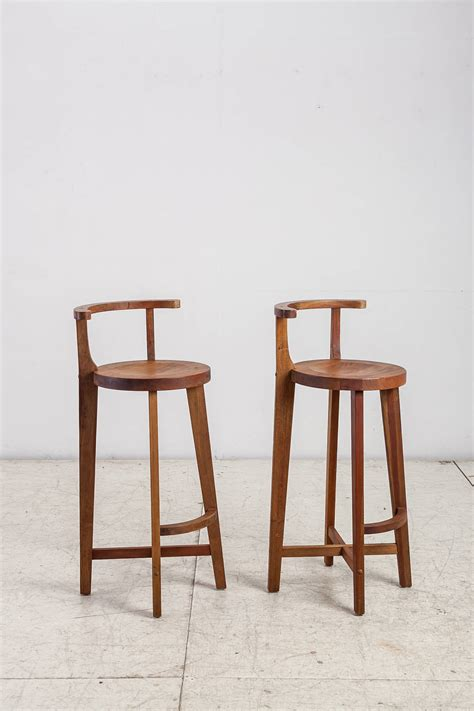 wooden bar chairs pair studio crafted wooden bar stools with rounded back