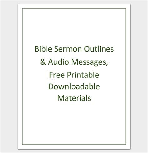 sermon outline template printable sermon template images