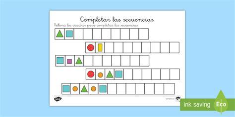 figuras geometricas de colores ficha de actividad completar las secuencias figuras y