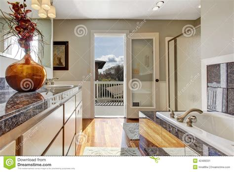 Modern Bathroom Interior With Walkout Deck Stock Image