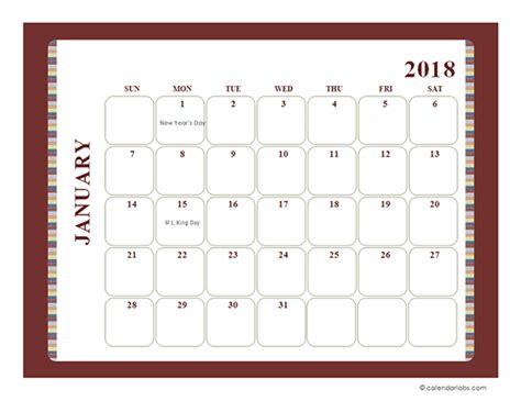 free printable yearly calendar with boxes 2018 monthly calendar template large boxes free