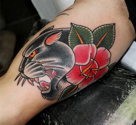 panther and rose tattoo traditional panther with on half sleeve