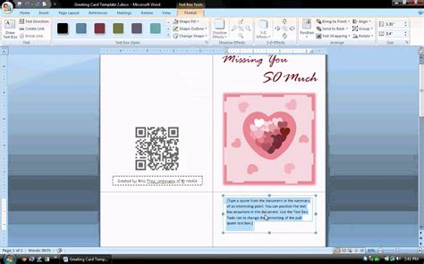 Microsoft Word S Day Card Template by Ms Word Tutorial Part 1 Greeting Card Template