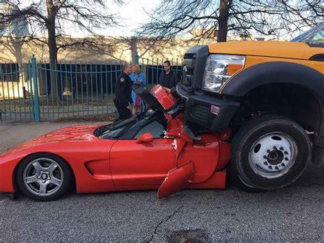 corvette crashes ford truck crashes into chevrolet corvette driver survives