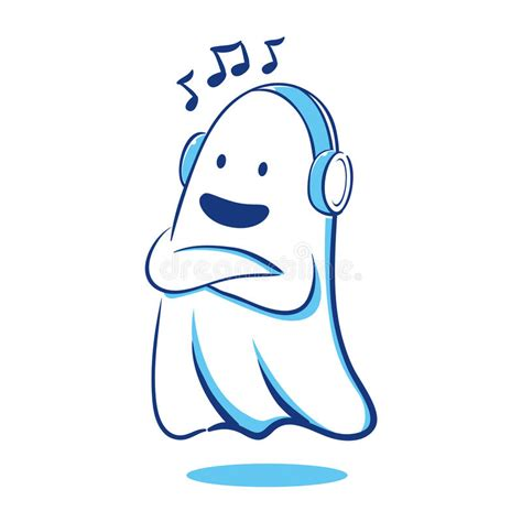 ghost soundtrack ghost listening to stock vector illustration of afraid 45081437