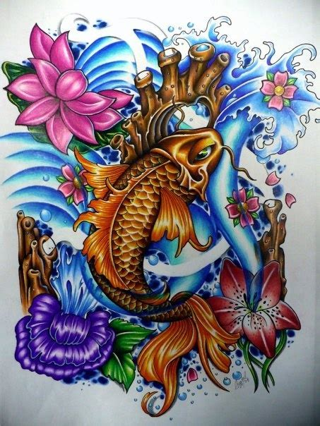 japanese lily tattoo designs koi and water lilies design by chantal at iron