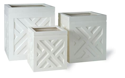 White Square Chippendale Resin Planter Square White Planter