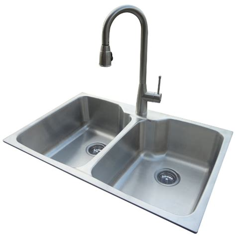 kitchen stainless steel sinks shop american standard 20 gauge double basin drop in or undermount stainless steel kitchen sink