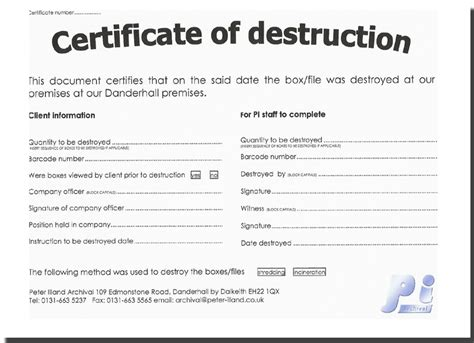 certificate of destruction template images templates