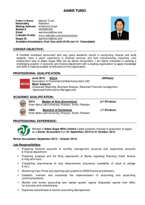 Visiting Resume Acca With 3 Years Experience On Dubai Visit Visa