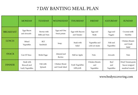 protein 7 day meal plan banting diet 7 day banting meal plan recovering