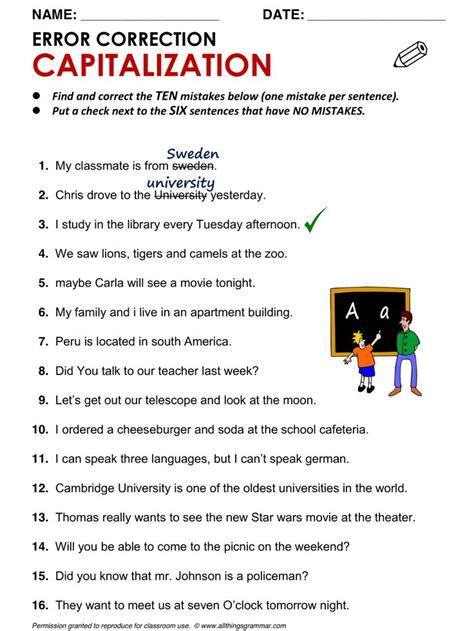 Capitalization Worksheets by Best 20 Grammar Worksheets Ideas On