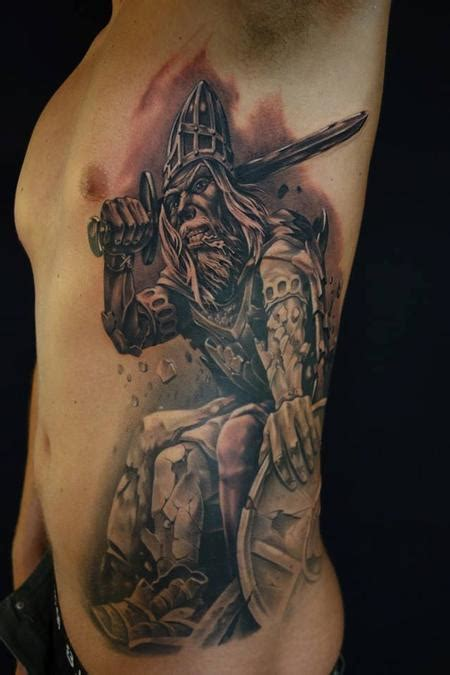 danish tattoos black grey portrait of myth holger by dennis