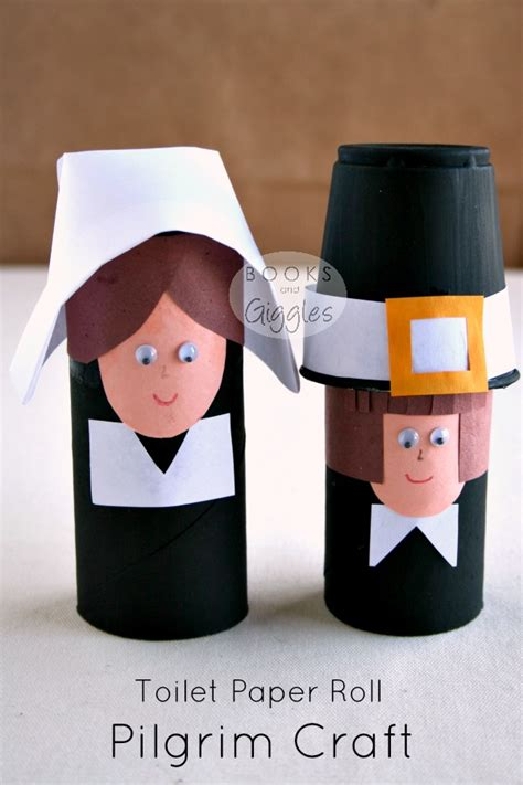 Thanksgiving Toilet Paper Roll Crafts - simple toilet paper roll pilgrims and a story of the