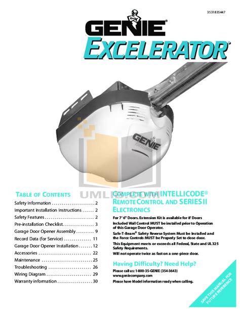 Download Free Pdf For Genie Excelerator Garage Door Opener Genie Garage Door Excelerator