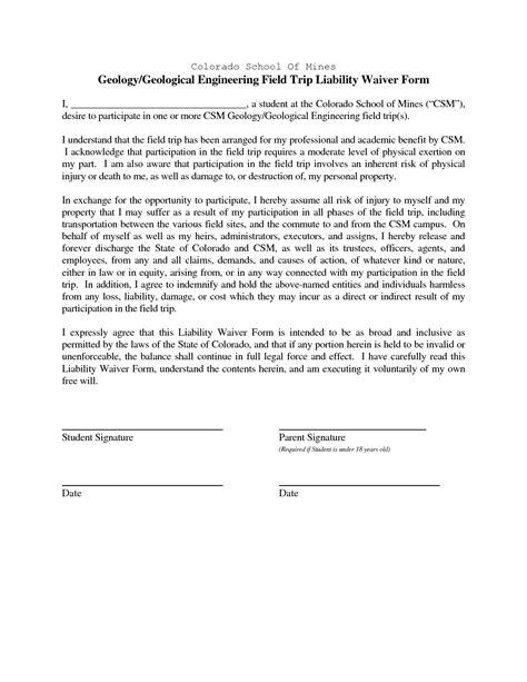 waiver template for liability liability templates pertamini co